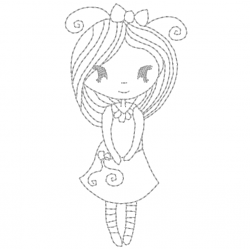 Petite fille timide en redwork