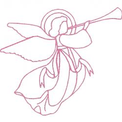 Ange rose à la trompette