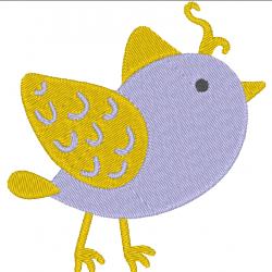 Oiseau violet et or